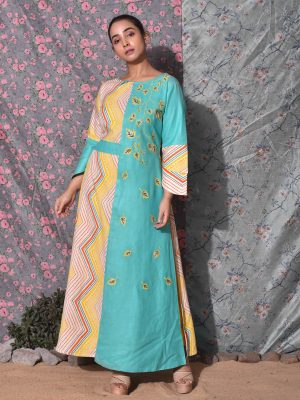 Embroidered Boat Neck Kurti