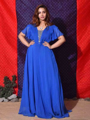Royal Blue Georgette Gown