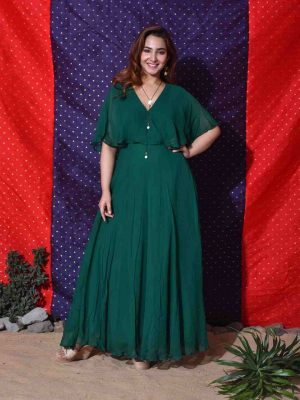 Green Overlap Yoke Gown