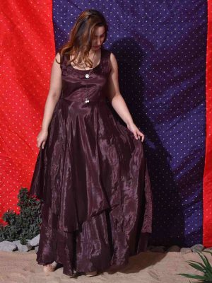 Brown Overlap Skirt Gown