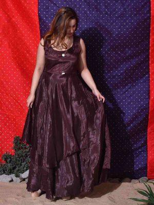 Brown Overlap Skirt Gown