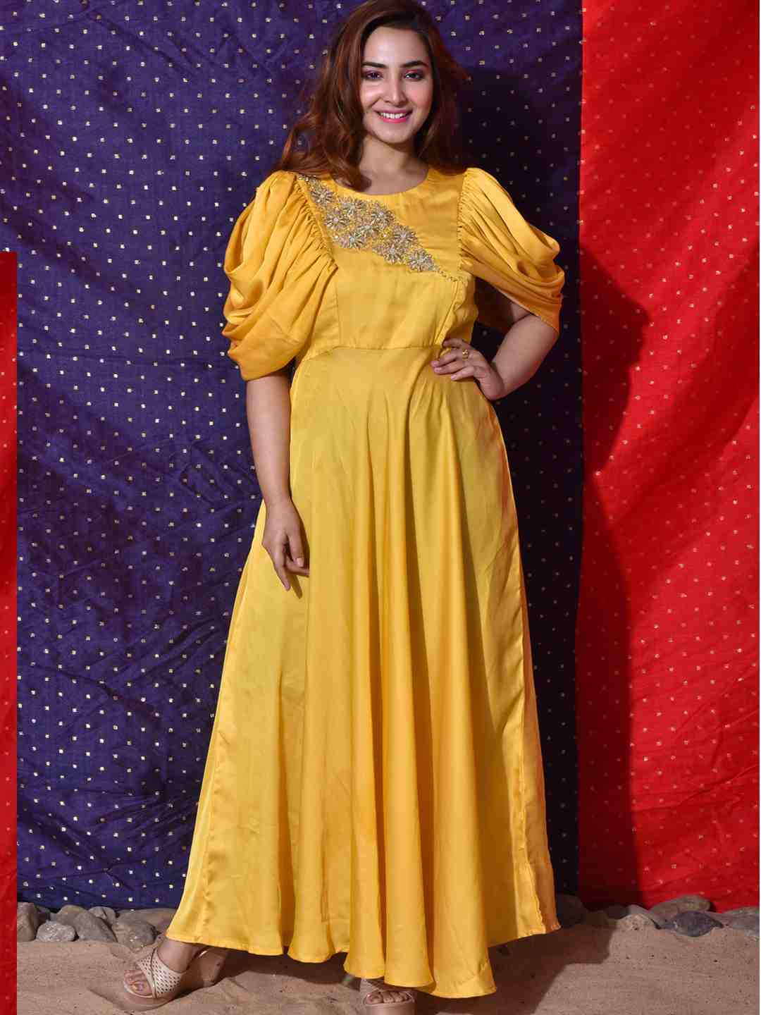 Yellow Draped Sleeves Gown