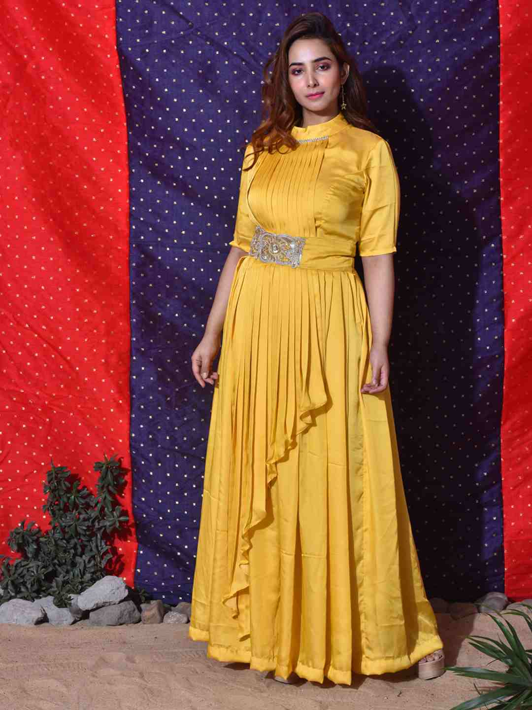 Yellow Pleated Skirt Gown