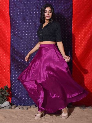 Purple Asymmetrical Double Layered Skirt