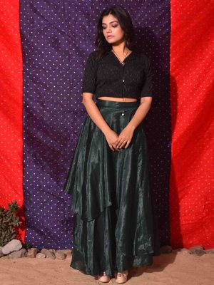 Green Asymmetrical Double Layered Skirt