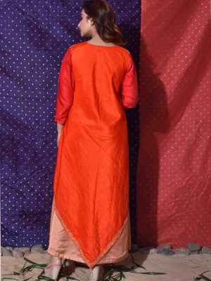 Orange Handkerchief Drape Gown