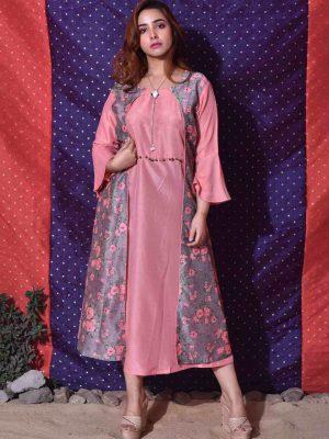 Pink Floral Jacket Dress