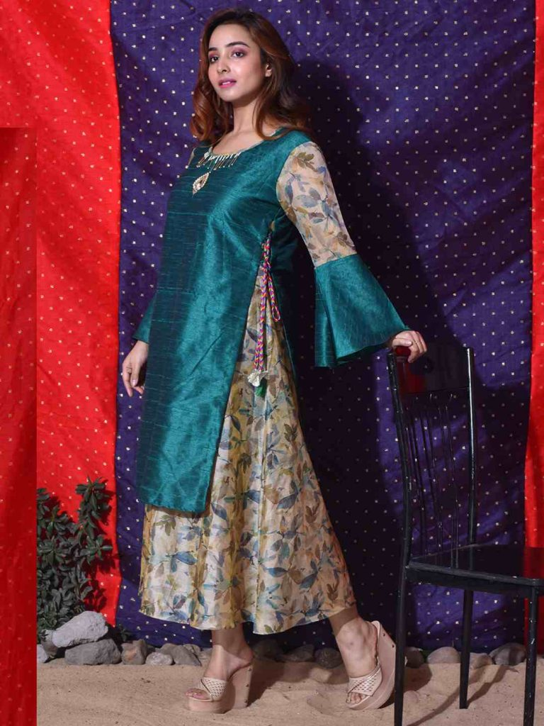 floral jacket style kurti