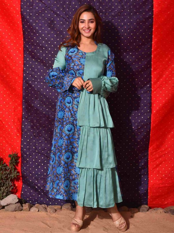 Turquoise Blue Layered Ruffle Gown