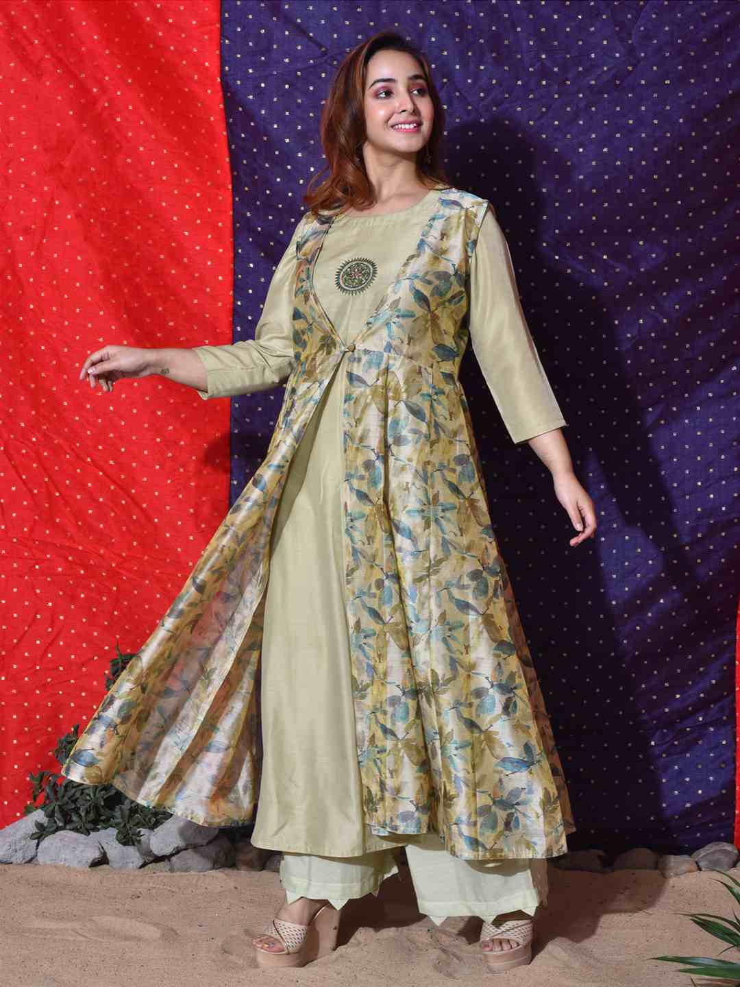 Pista Green Floral Layered Kurta