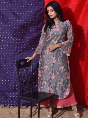 Grey Floral Printed Kurti With Choker Neckline