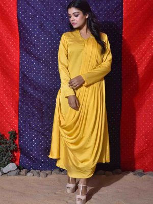 Yellow Front Drape Dress
