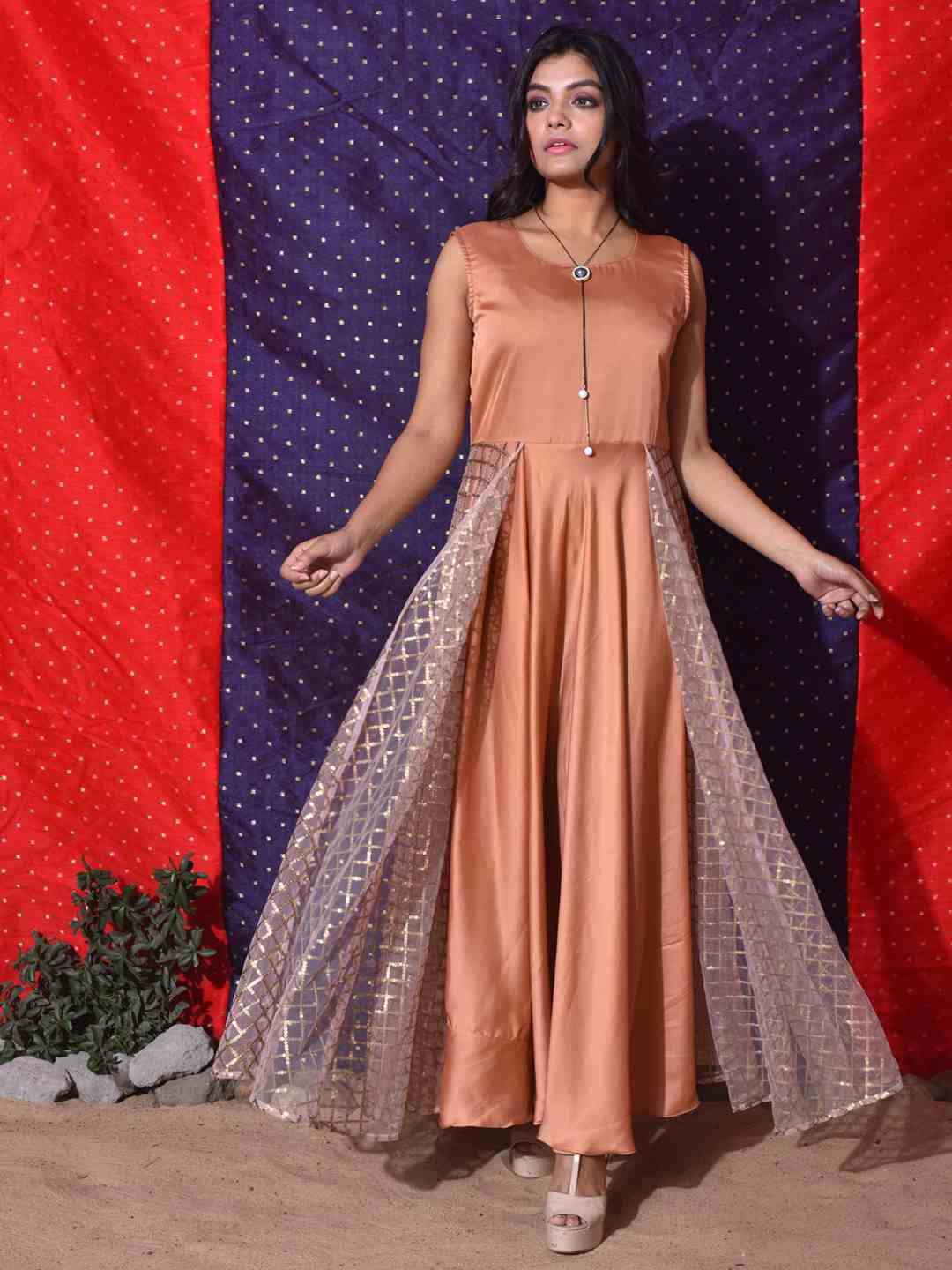 Peach Sequence Jacket Gown