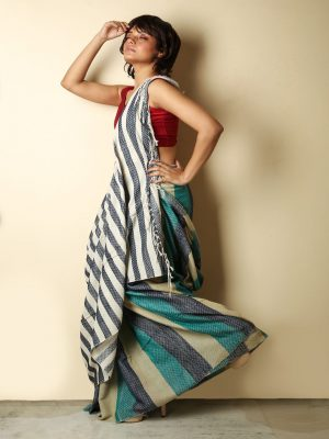 Multicolored Striped Pure Cotton Saree