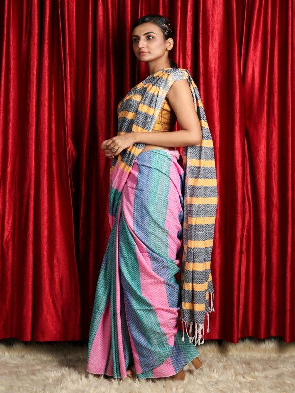 Multicolored Striped Pure Cotton Saree