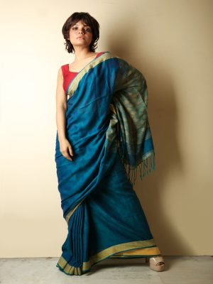 Peacock Blue Cotton Handloom Saree