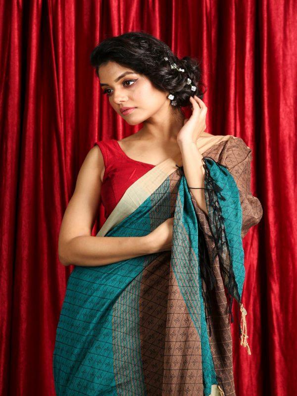 Thread Weave Handloom Cotton Saree