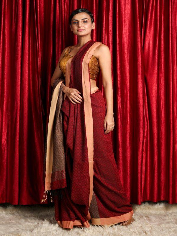 Maroon Thread Weave Cotton Handloom Saree