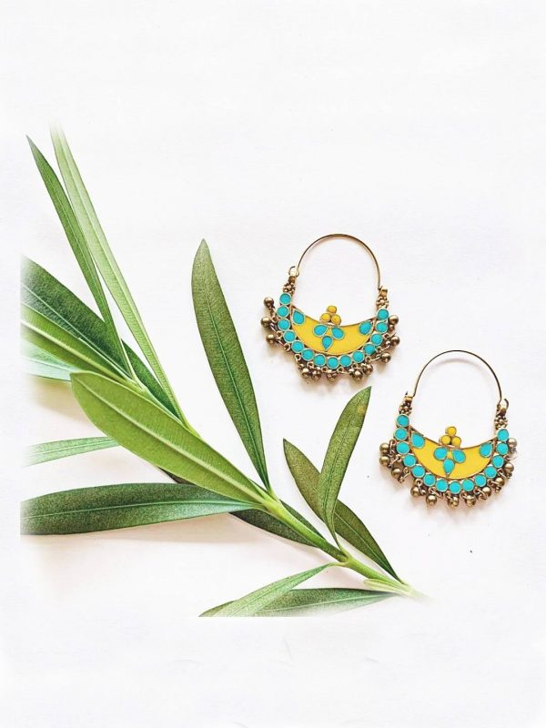 Turquoise Crescent Shaped Earrings