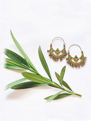 Green Red Meenakari Hoop Earrings