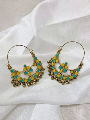 Yellow Turquoise Meenakari Hoop Earrings