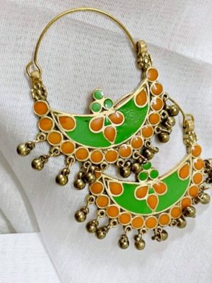 Crescent Shaped Orange Green Earrings