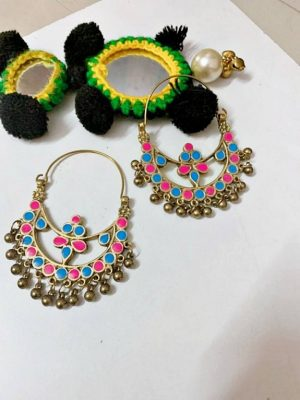 Meenakari Turquoise Pink Hoop Earrings