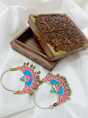 Pink Turquoise Crescent Shaped Hoop Earrings