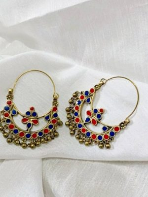 Blue Red Meenakari Hoop Earrings