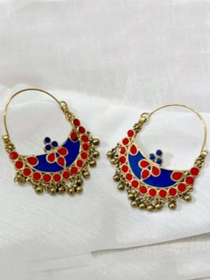 Red Blue Crescent Shaped Hoop Earrings