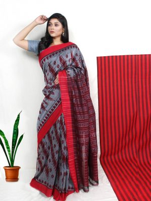 Grey Pochampally Ikkat Saree