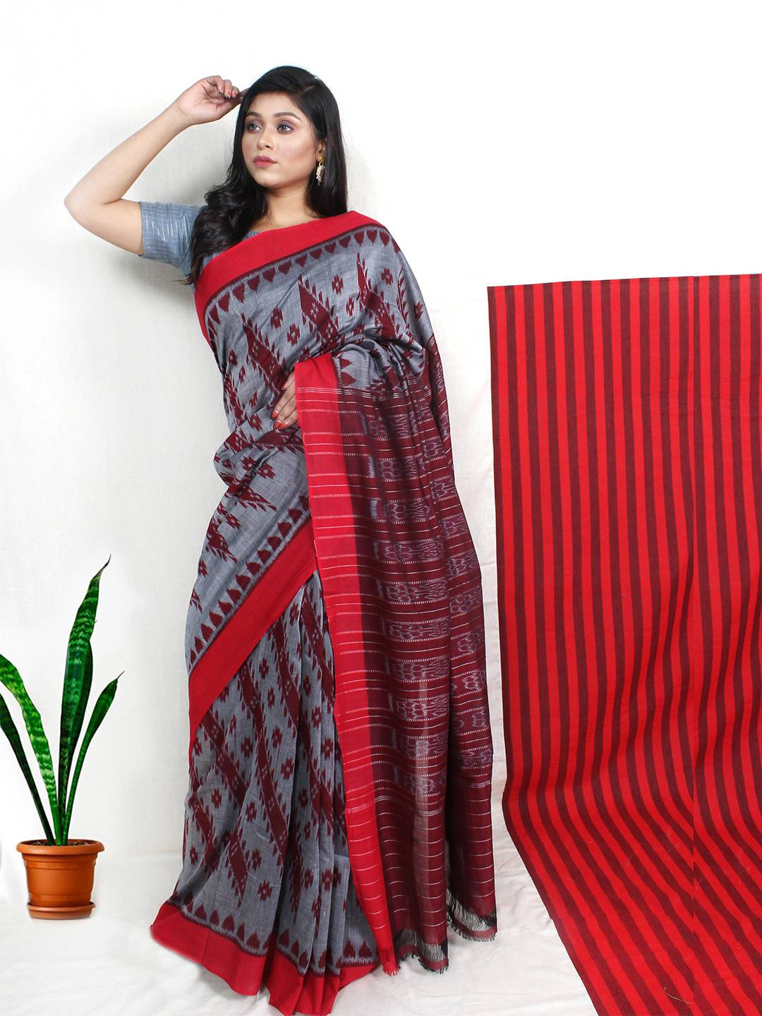 gray pachampalli saree