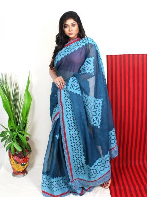 Blue Applique Saree