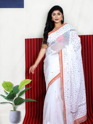 White Applique Saree