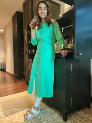 Sea Green Mirror Embroidery Kurti