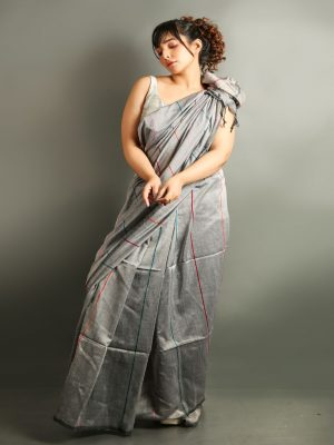 Grey Stripe-Ghicha Saree