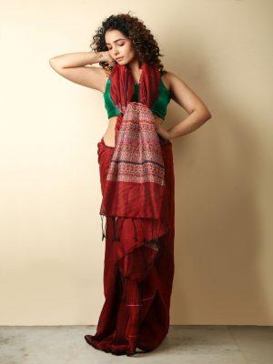 Maroon Stripe-Ghicha Saree