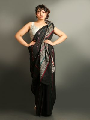 Black Stripe-Ghicha Saree