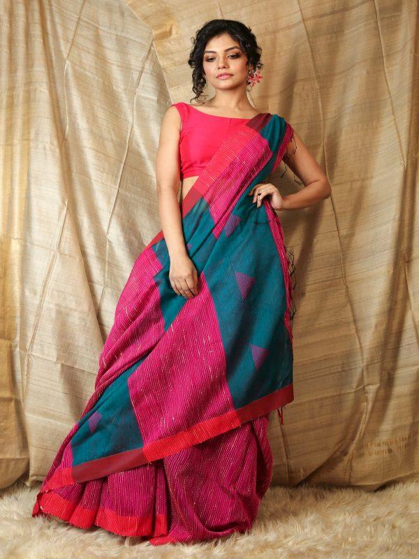 Pink Ghicha Saree