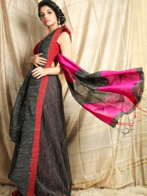 Black Ghicha Saree