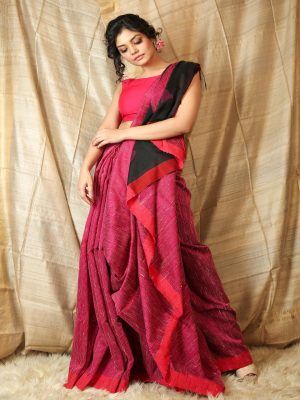 Dark Pink Ghicha Saree