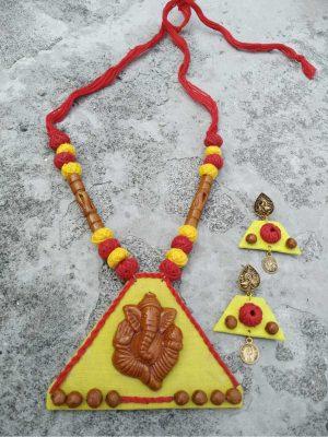 Handmade Ganesha Clay Necklace Set