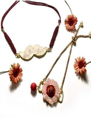 Pink Rose Quartz Rudraksha Rakhi Set