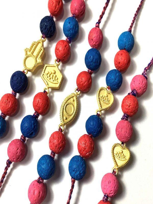 Gold Plated Charms Rakhi Bracelet Combo set