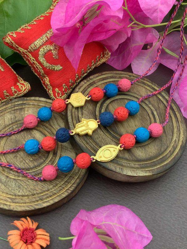 Gold Plated Charms Rakhi Bracelet Combo Set of 3