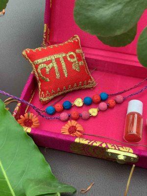 Gold Plated Hearts Kids Rakhi Bracelet Combo Set