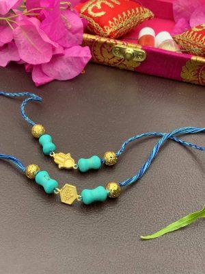 Gold Plated Hamsa Rakhi Bracelet Combo Set