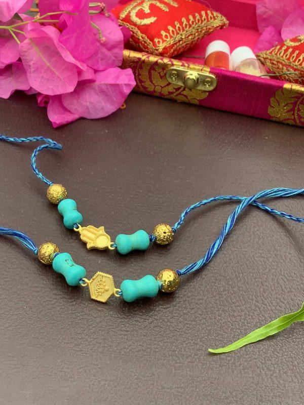 Gold Plated Hamsa Rakhi Bracelet Combo set of 2