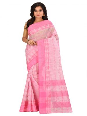 Pink Taant Pure Cotton Saree