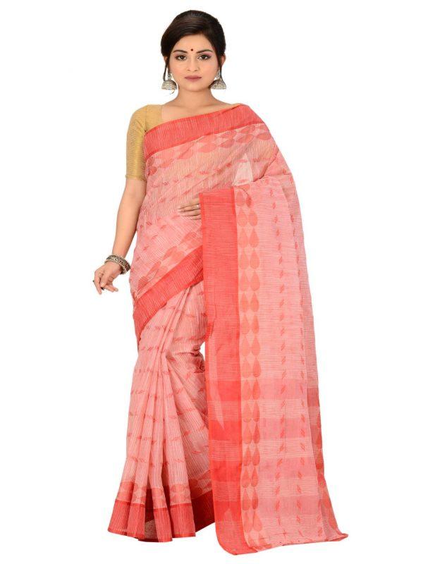 red pure cotton taant sari